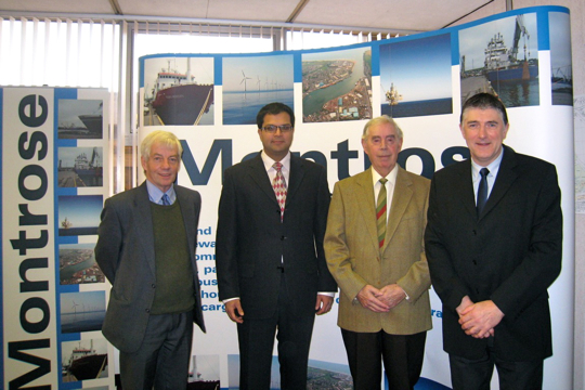 Sanjay Samani with Terry Wood and Jim Raeper, Montrose Harbour Board