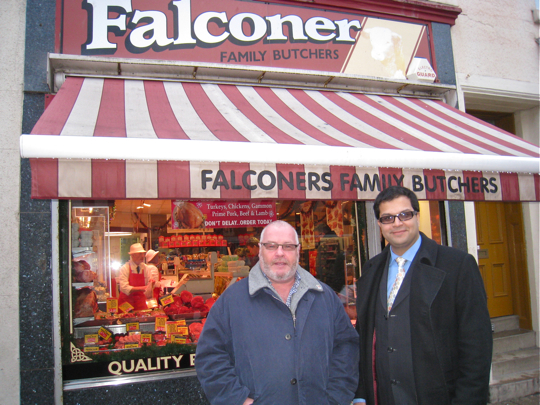 Sanjay visiting Falconers Family Butchers
