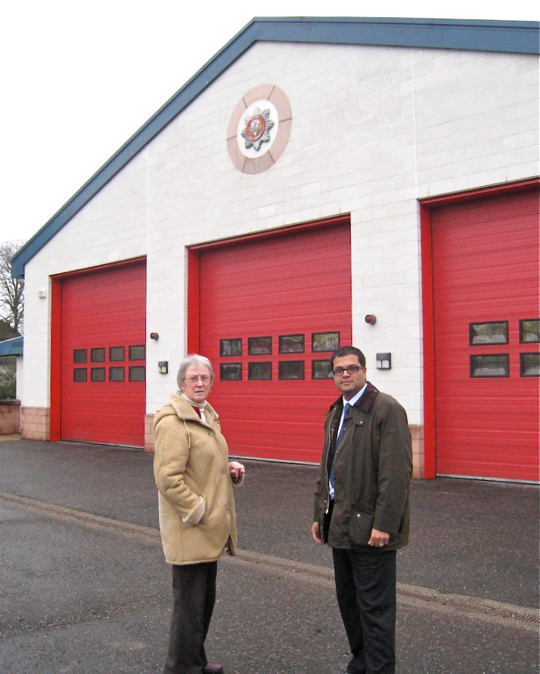 Sanjay visiting Forfar Fire Station with Community Councillor Avril Simpson
