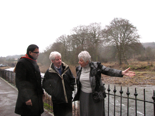Sanjay visits site of Brechin flooding with Cllr Ruth Leslie-Melville and Cllr David May