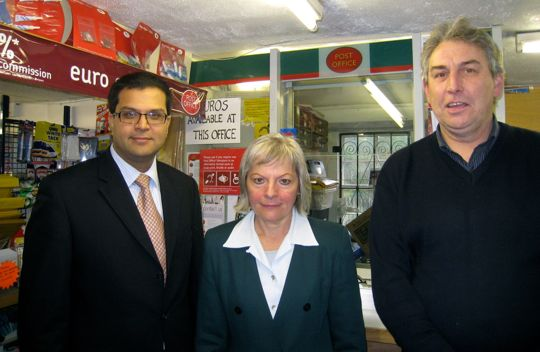 Sanjay visiting Glamis Post Office with Cllr Alison Andrews and owner Hugh Nicoll