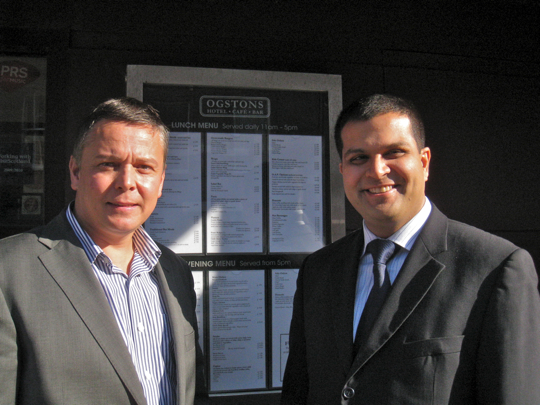 Sanjay with Fraser Ogston in front of Ogstons in Arbroath