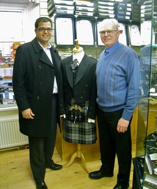 Sanjay with Chris Banks, owner Highland Scene, Montrose