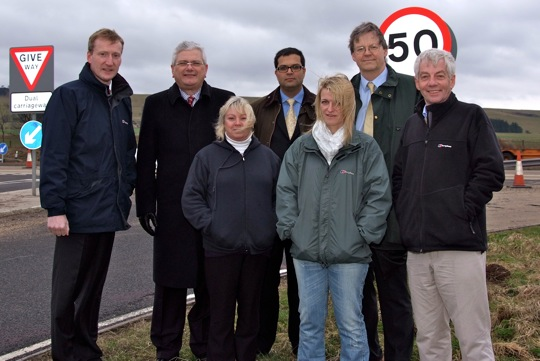Sanjay campaigning for a flyover on the A90 at Laurencekirk