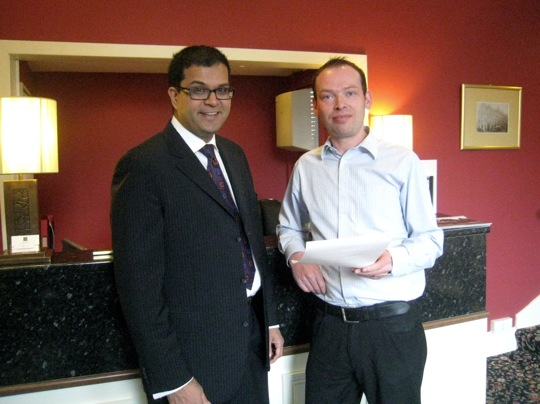 Sanjay with Daniel Paton, owner, George Hotel, Montrose