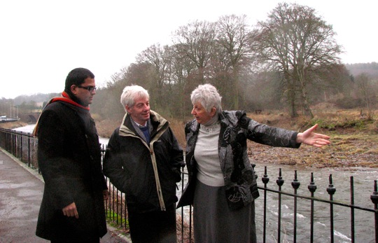 Sanjay Samani visiting flooding site in Brechin