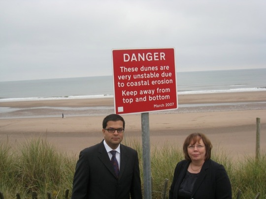 Sanjay visiting Montrose Beach with Alison McInnes MSP