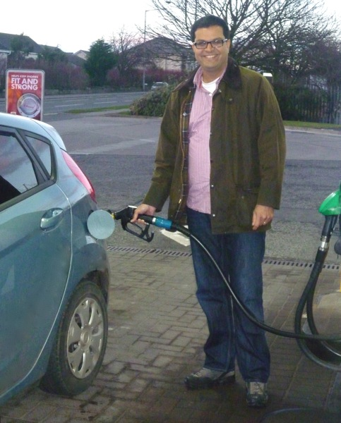 Sanjay Samani fills up with fuel
