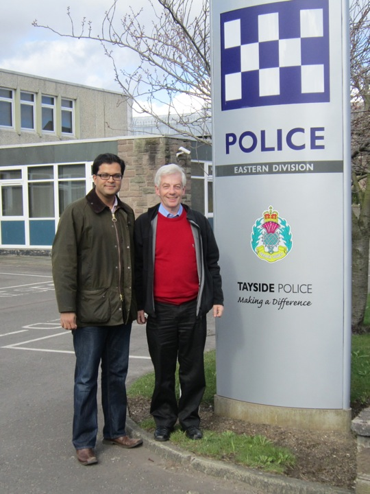 Sanjay Samani visiting Forfar police station with Cllr David May
