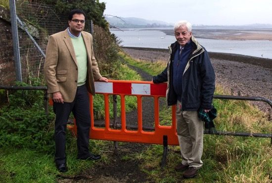 Sanjay Samani and David May visit damaged footpath