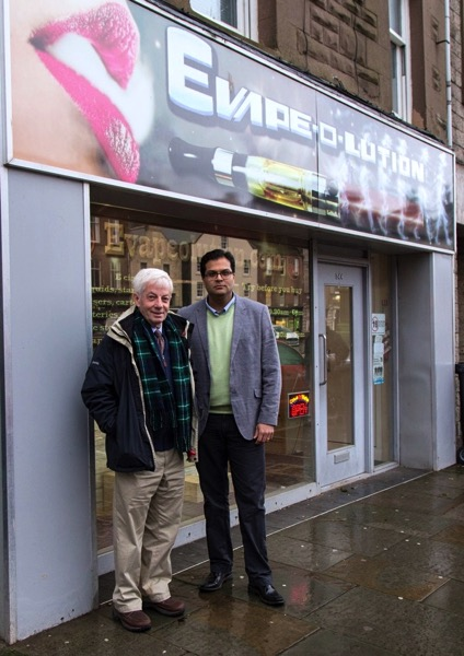 Sanjay Samani and David May outside Montrose Legal High Shop