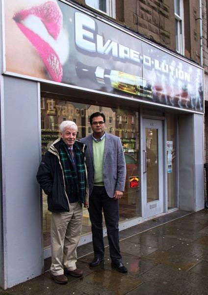 Sanjay Samani and David May outside Montrose Legal High Shop