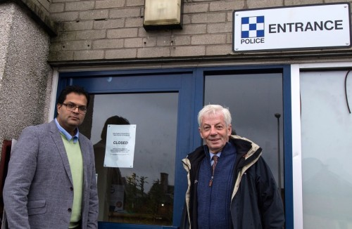 Sanjay Samani and Cllr David May visit the Closed Police Counter in Montrose